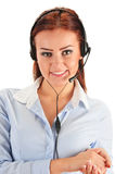 Call center operator isolated on white. Customer support. Helpdesk Stock Image