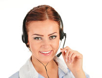Call center operator isolated on white. Customer support Stock Photos