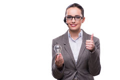 The call center operator with light bulb isolated on white Royalty Free Stock Photography