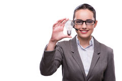 The call center operator with light bulb isolated on white Stock Photo
