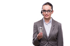 The call center operator with light bulb isolated on white Stock Photography