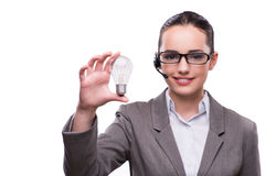 The call center operator with light bulb isolated on white Royalty Free Stock Image