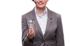 The call center operator with light bulb  on white Stock Image