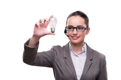 The call center operator with light bulb  on white Stock Photos