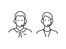 Call center operator line icons Stock Images