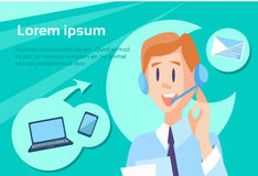 Call Center Operator Man Customer Support Internet Communication. Flat Vector Illustration Stock Image