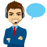 Call Center Operator Man Stock Photo
