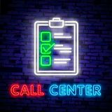 Call center operator neon light icon. Support service glowing sign. Vector isolated illustration. Call center operator neon light icon. Support service glowing stock illustration