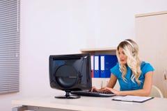 Call center operator at office Stock Photos