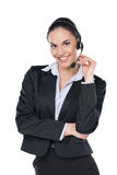 Call center operator with phone headset. Royalty Free Stock Photos