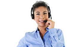 Call Center Operator. Stock image of female call center operator over white background Stock Photography