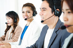 Call center operator or telemarketer. Team - telemarketing and customer service concept Royalty Free Stock Photography