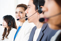 Call center operator or telemarketer team. Telemarketing and customer service concepts Royalty Free Stock Image
