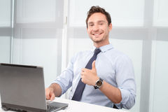 Call center operator thumbing up Stock Images