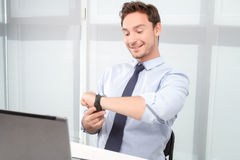 Call center operator watching time Stock Image