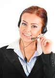 Call center operator on white. Customer support Royalty Free Stock Photo