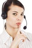 Call center operator woman stock image