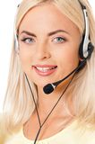 Call center operator. Woman customer service worker, call center operator with phone headset, isolated on white background Stock Photography