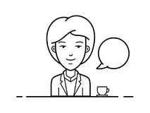 Call center operator. Woman sitting at the table and working in the office. Vector illustration. Chat bubble with avatar symbol. Vector icon of chat Stock Image