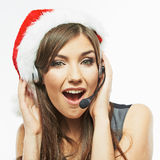 Call center operator. Woman white background portrait. Santa Ch Stock Images