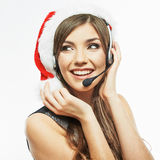 Call center operator. Woman white background portrait. Santa Ch Stock Photography