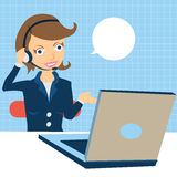 Call center operator at work. Cartoon  illustration of a young female call center operator at the work Stock Images