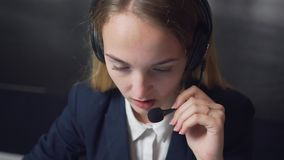 Call Center Operator Work stock video footage