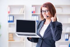 The call center operator working with clients Stock Photography