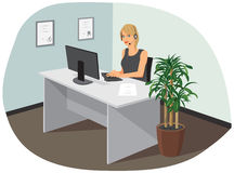 A call center operator. A young female call center operator is in the office Stock Photos