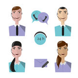 Call center operators, female and male avatar icons. Vector illustration, flat style Royalty Free Illustration