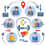 Call center operators icons of people, man woman Stock Photos
