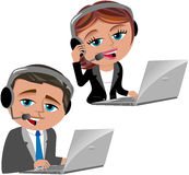 Call Center Operators. Illustration featuring Bob and Meg working as call center operators with notebook and headset isolated on white background. Eps file is Stock Photos