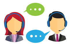 Call center operators. Male and female call center icons with headsets and speech bubbles on white background Royalty Free Stock Photography