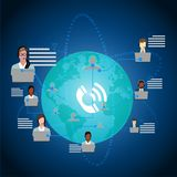 Call Center Operators Team, Man Woman Customer Support People Group Chat Bubble Internet Communication Thin Line Illustration. Call Center Operators Team, Man Royalty Free Stock Photography