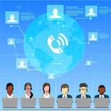 Call Center Operators Team, Man Woman Customer Support People Group Chat Bubble Internet Communication Thin Line Royalty Free Stock Photo