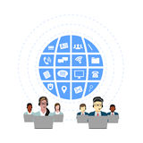 Call Center Operators Team, Man Woman Customer Support People Group Chat Bubble Internet Communication Thin Line Illustration Stock Photography