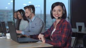 Call center operators at work stock photos
