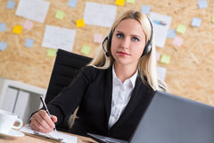 Call center oprator looking Stock Images