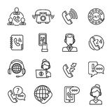 Call Center Outline Icons Set Stock Images