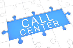 Call Center. Puzzle 3d render illustration with word on blue background stock images