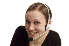 Call-center representative. Portrait of women on white royalty free stock images