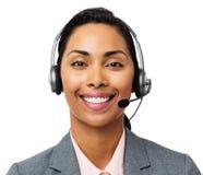 Call Center Representative Wearing Headset. Portrait of smiling call center representative wearing headset against white background. Horizontal shot Stock Image