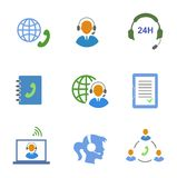 Call center service icons set of contacts mobile Stock Photos