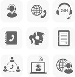 Call center servise set icons phone assistance and Royalty Free Stock Images