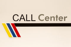 Call center sign. Indicator of call center office in new building Stock Photos