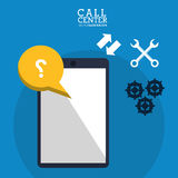 call center smartphone collaboration help royalty free illustration
