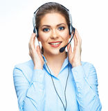 Call center smiling operator business portrait. Wh Royalty Free Stock Photos