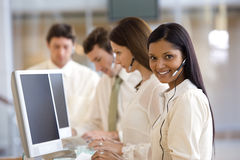 Call center with smiling woman Royalty Free Stock Photos