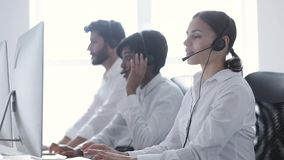 Smiling Woman Working At Call Center Stock Video Video Of