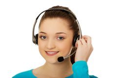 Call center smiling woman operator. Royalty Free Stock Images